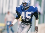 Defensive back Kenny Easley of the Seattle Seahawks moves down the field during a game.